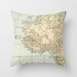 West  & North Africa Vintage Map Throw Pillow