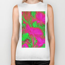 closeup palm leaf texture abstract background in pink and green Biker Tank