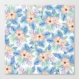 Tropical coral lilac lavender blue watercolor floral Canvas Print