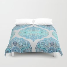 Through Ocean & Sky - turquoise & blue Moroccan pattern Duvet Cover