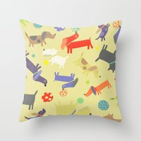 dogs Throw Pillows featuring Dogs by Amy Schimler-Safford