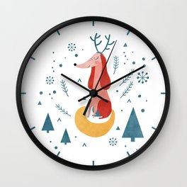 Merry Christmas Dog Card 1 Wall Clock
