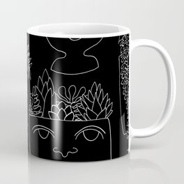 Illustrated Plant Faces in Black Coffee Mug