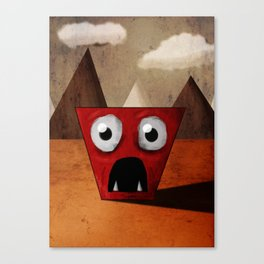 Red Trapezoid Monster Canvas Print