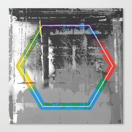 Color Chrome - B/W graphic hex Canvas Print