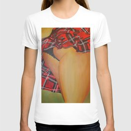 Young Girl Flirting Tease Me in Tartan T-shirt