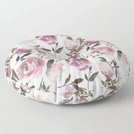 Modern hand painted ivory purple pink watercolor roses Floor Pillow