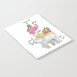 A Stack Of Animals with elephant, lion, flamingo, monkeys and snake Notebook