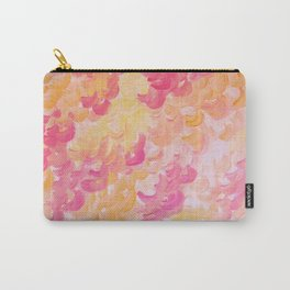 PINK PLUMES - Soft Pastel Wispy Pretty Peach Melon Clouds Strawberry Pink Abstract Acrylic Painting  Carry-All Pouch