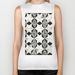 Tribal Shibori Stars Black and Cream Biker Tank
