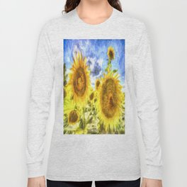 Summer Day Sunflowers Art Long Sleeve T-shirt
