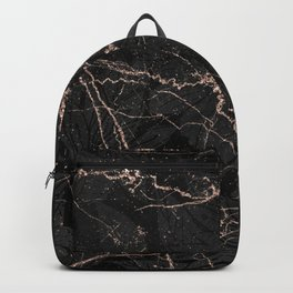 Black rose gold glitter floral abstract marble Backpack