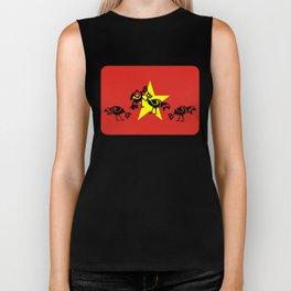 Vietnam Flag, Roosters Sparring Biker Tank