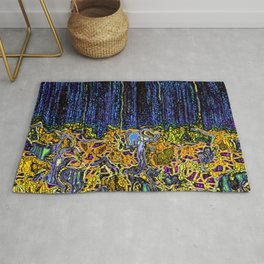 Navy With Orange Multi Colored Tangled Roots Rug