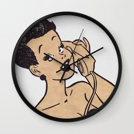 Woman on the Phone Wall Clock