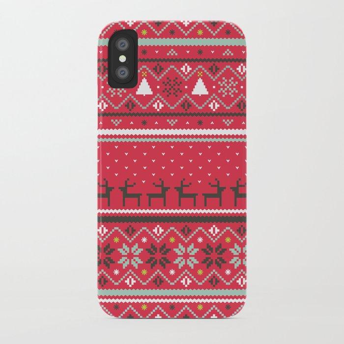 Festive FairIsle - Red iPhone Case