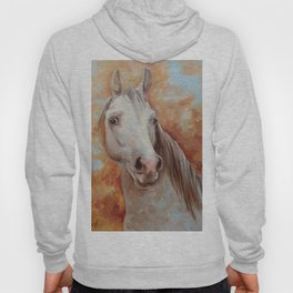 Grey Horse Portrait Autumn Scenic Painting Equine Art Decor for horse lover Hoody