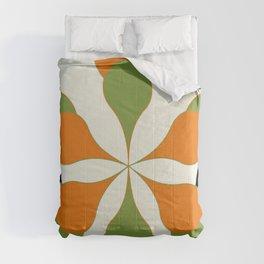 Mid-Century Modern Art 1.4 - Green & Orange Flower Comforters