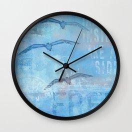Free sea gull blue mixed media art Wall Clock