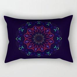 Bird and Flower Mandala in Black Rectangular Pillow