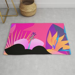 Hot Tropical Colors With Bird Of Paradise Rug