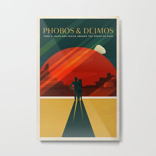 THE MOONS OF MARS - Phobos & Deimos | Space | X | Retro | Vintage | Futurism | Sci-Fi | Two Metal Print