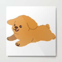 Flat colored brown cute Toy Poodle jumping Metal Print
