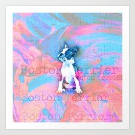 Boston Terrier Watercolor Digital Art Art Print