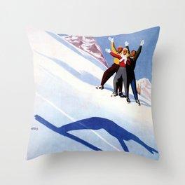 Aosta Valley winter sports Throw Pillow