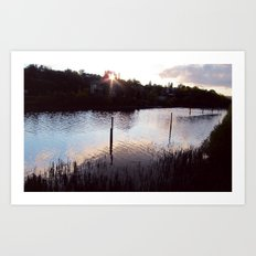 Sunset by the river Art Print