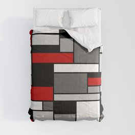 Mid Century Modern Color Blocks in Red, Gray, Black and White Comforters