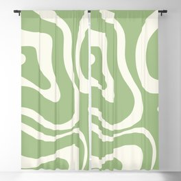 Modern Liquid Swirl Abstract Pattern in Light Sage Green and Cream Blackout Curtain