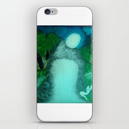 WHITE CAT IN THE MOON LITE BY THE WATERFALL iPhone Skin