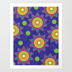 Moroccan Flower Purple Art Print