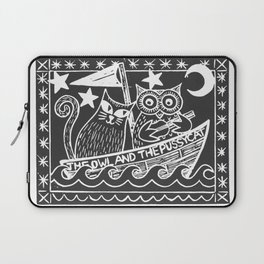The Owl And The Pussycat (black background) Laptop Sleeve