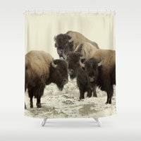 american Shower Curtains featuring American Buffalo by Color and Patterns