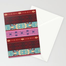 Oceanview Trim Red horizontal Ikat and fish motif Stationery Cards