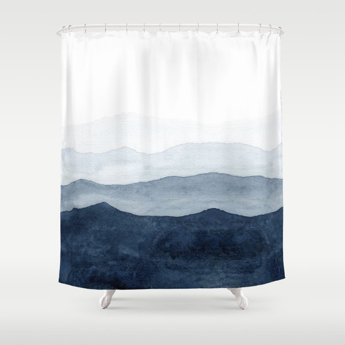 Indigo Abstract Watercolor Mountains Shower Curtain