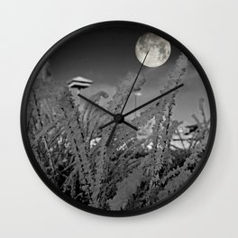 Snow crystals with moon Wall Clock