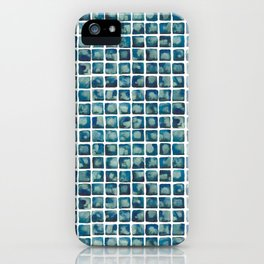 Turquoise Watecolor Tile Pattern iPhone Case