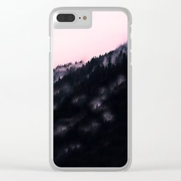 Watercolour Pink Fog Forrest Clear iPhone Case