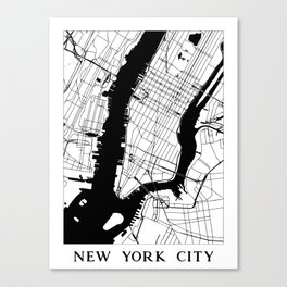 New York City Minimal Map Canvas Print