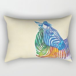 Rainbow Zebra Rectangular Pillow