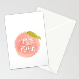 You're a Peach Watercolor Painting Stationery Cards
