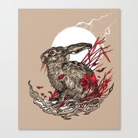 hare Canvas Prints featuring Hare by Rachael Smart