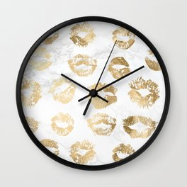 Fashion Lips Gold Lipstick on Marble Wall Clock