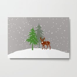 Christmas Tree Reindeer Snowflakes  Metal Print