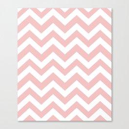 Tea rose - pink color - Zigzag Chevron Pattern Canvas Print