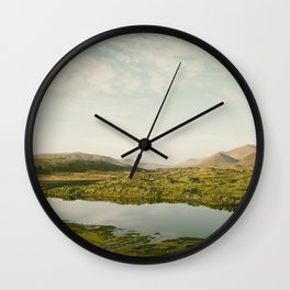 The lake by the mountains II Wall Clock