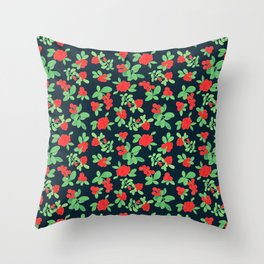 Lingonberry (on Navy) Throw Pillow